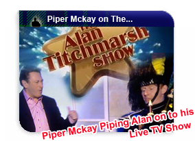 Bagpiper hire with Piper Mckay for TV